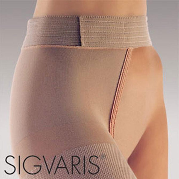Sigvaris 863 Select Comfort Open Toe Right Thigh w/Waist Attachment. -30-40 mmHg