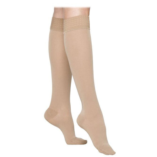 Sigvaris Essential 863 Opaque Women's Closed Toe Knee Highs w/Grip Top - 30-40 mmHg