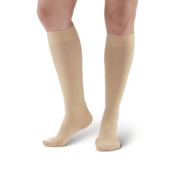 AW Style 391 Luxury Opaque Closed Toe Knee Highs - 30-40 mmHg Beige