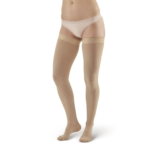 AW Style 292 Luxury Opaque Closed Toe Thigh Highs w/Dot Silicone Band - 20-30 mmHg