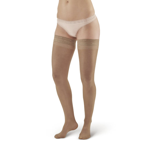 AW Style 74 Soft Sheer Thigh Highs w/ Lace Band - 8-15 mmHg