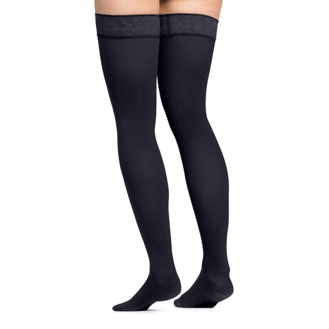 Jobst Opaque Open Toe Maternity Thigh Highs w/Top Band - 20-30 mmHg Anthracite