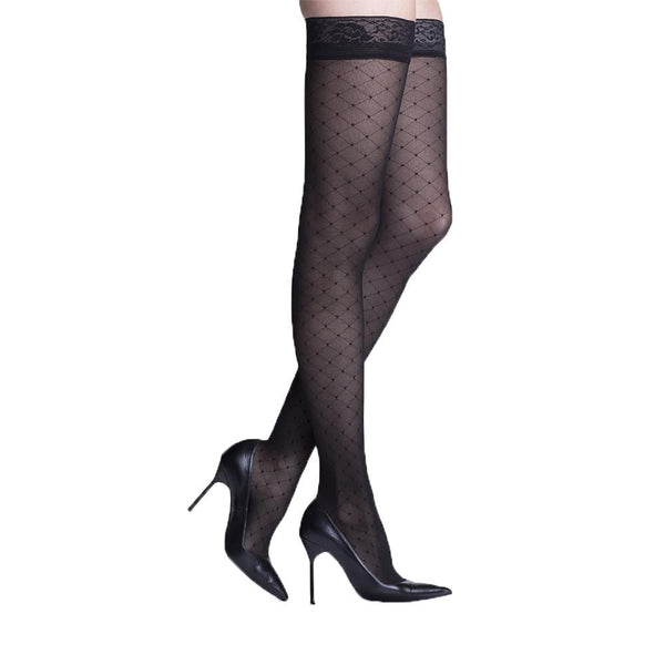 Sigvaris 712 Allure Closed Toe Thigh Highs w/Lace Band - 20-30 mmHg - Black