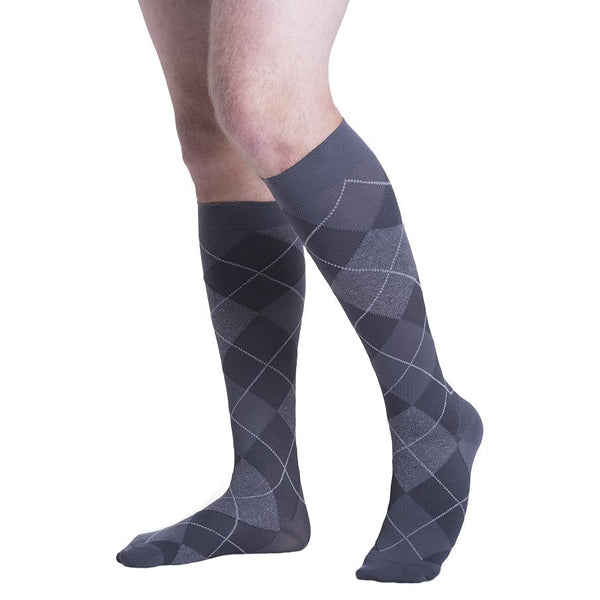 Sigvaris Style 832 Microfiber Patterns Men's Closed Toe Socks - 20-30 mmHg