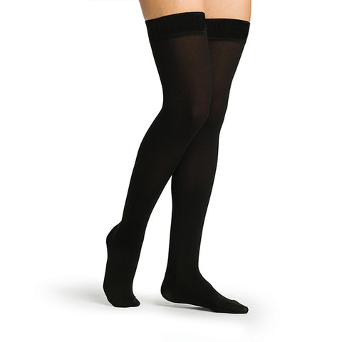 Sigvaris Secure 553 Women's Closed Toe Thigh Highs w/Silicone Band - 30-40 mmHg