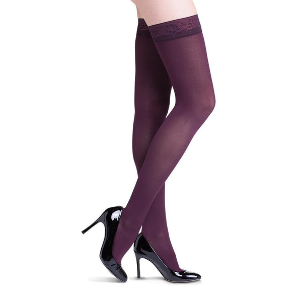 Sigvaris 841 Soft Opaque Closed Toe Thigh Highs w/ Grip Top- 15-20 mmHg - Mulberry