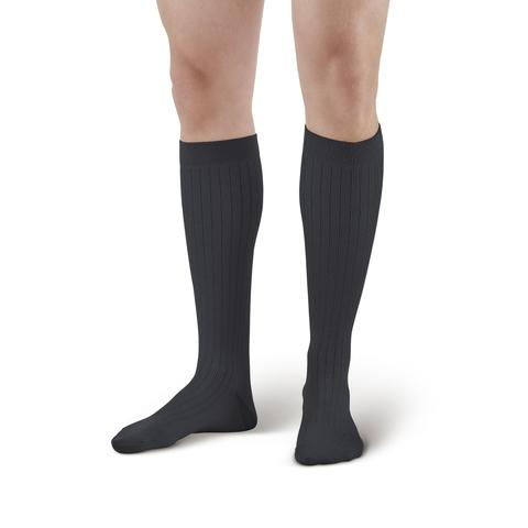 Lounge Doctor Moderate Support Men's Knee High Dress Socks Black