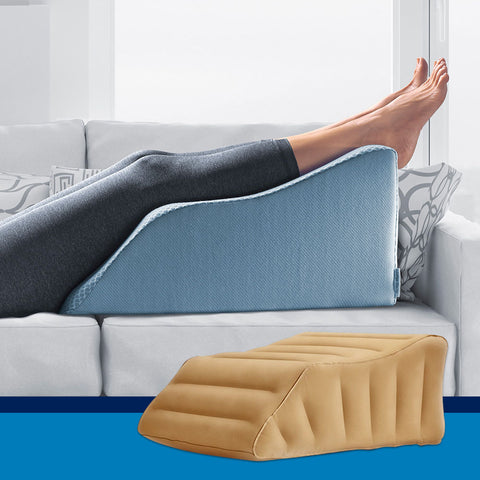 Lounge Doctor Leg Rest w/Cooling Memory Foam & Inflatable Travel Leg Rest Bundle