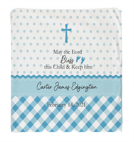 Blue Polka Dot Christening Baby Blanket