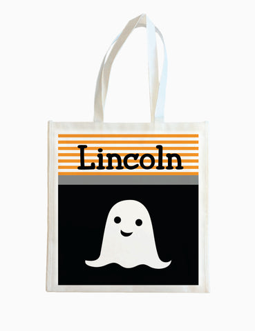 Ghost w/ Orange Stripe - Halloween Tote