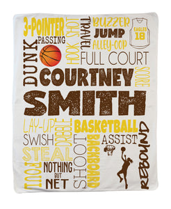 Large Basketball Girl Blanket