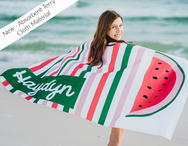 Green Lime Stripe Beach Towel