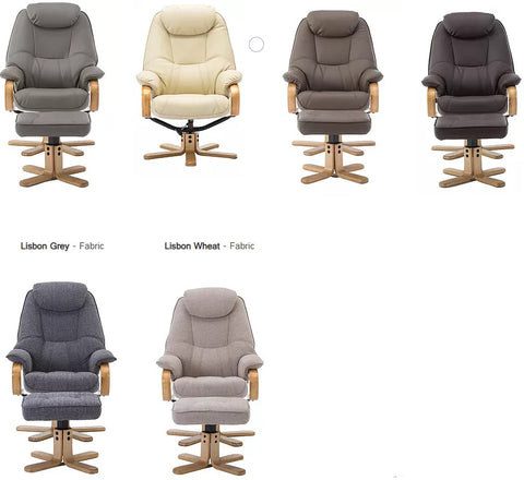 Pisa swivel recliner and stool colour options