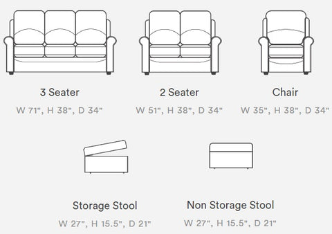 Sterling Sofa, Arm Chair and Stool Options