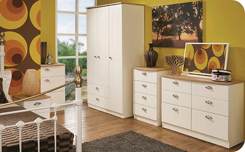 Oak topped white bedroom furniture