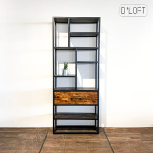 Bookcase Made of Stained Mango Wood and Metal