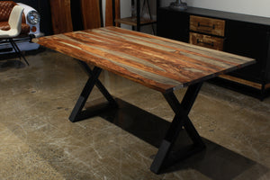 "67"" straight edge grey sheesham table with black X legs"