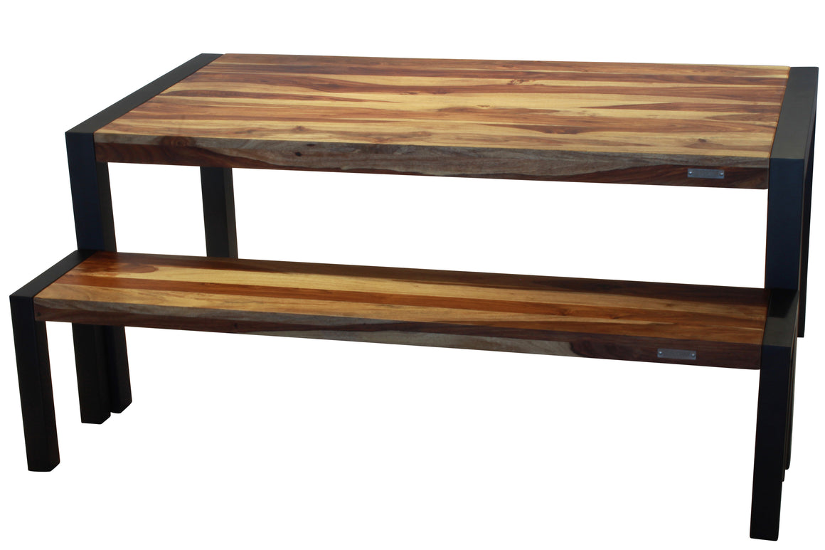 Sheesham 70'' bench with black-legs | D'Loft