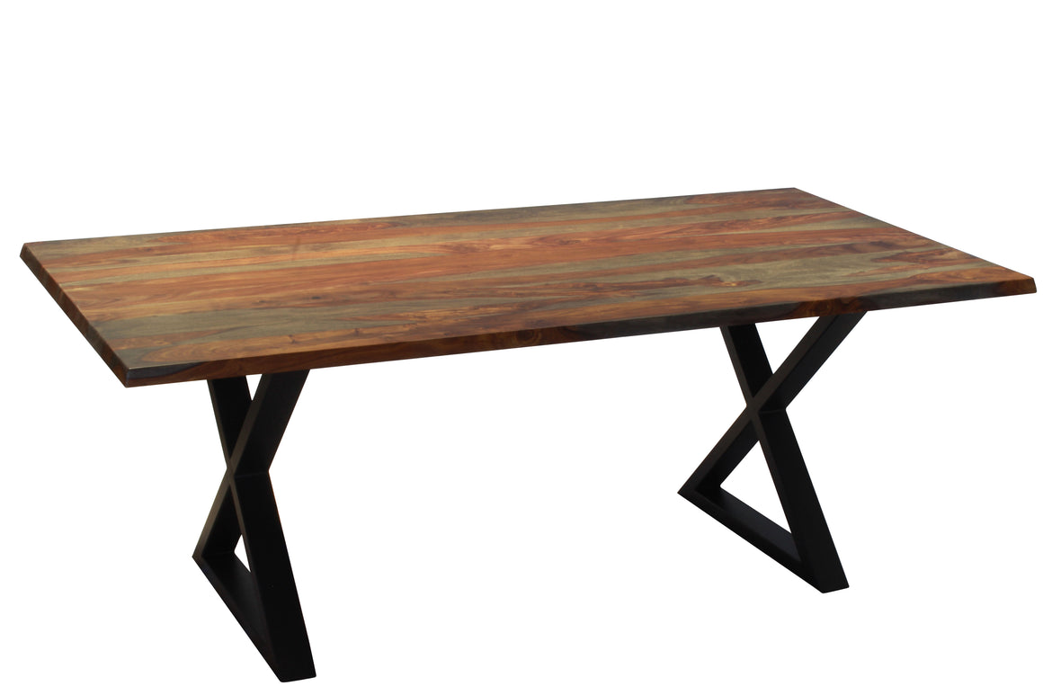 "Straight edge 80"" grey sheesham table - many differents bases available"