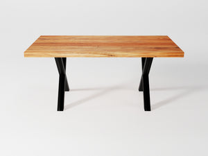 TORNA70 ACACIA - 70'' straight edge acacia table with black X legs