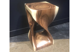Twist stool / Accent table in acacia wood H 20''