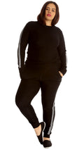 Elina Side Stripe Tracksuit Black