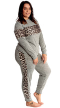 River Leopard Print Stripe Lounge Joggers Grey