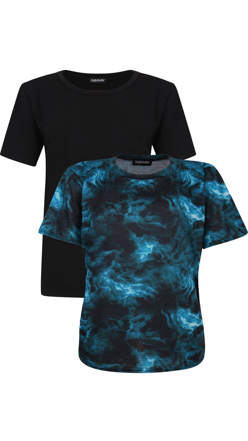 CurveWow 2 PACK Plain Black & Blue Tie-Dye T-Shirt