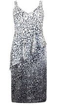 Eleanor Animal Print Satin Frill Dress Grey
