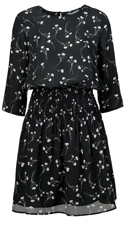 Willow Floral Print Smocked Waist Dress Black