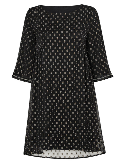 Ophelia Metallic Smock Dress Black