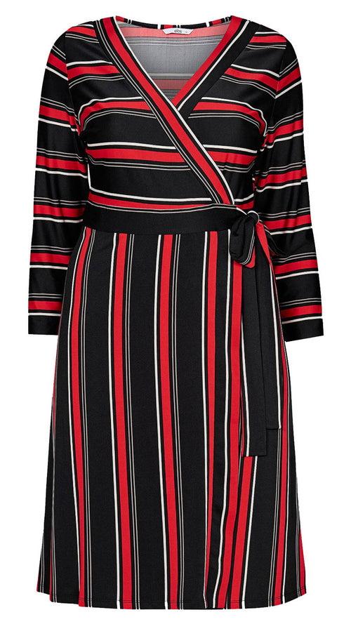 Aubrey Black and Red Striped Wrap Dress