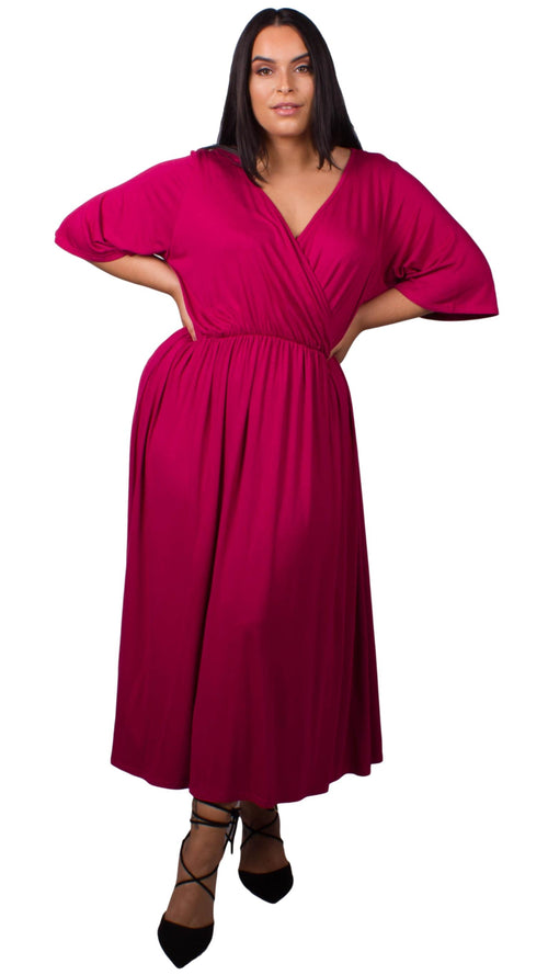 CurveWow Rose Pink Wrap Maxi Dress