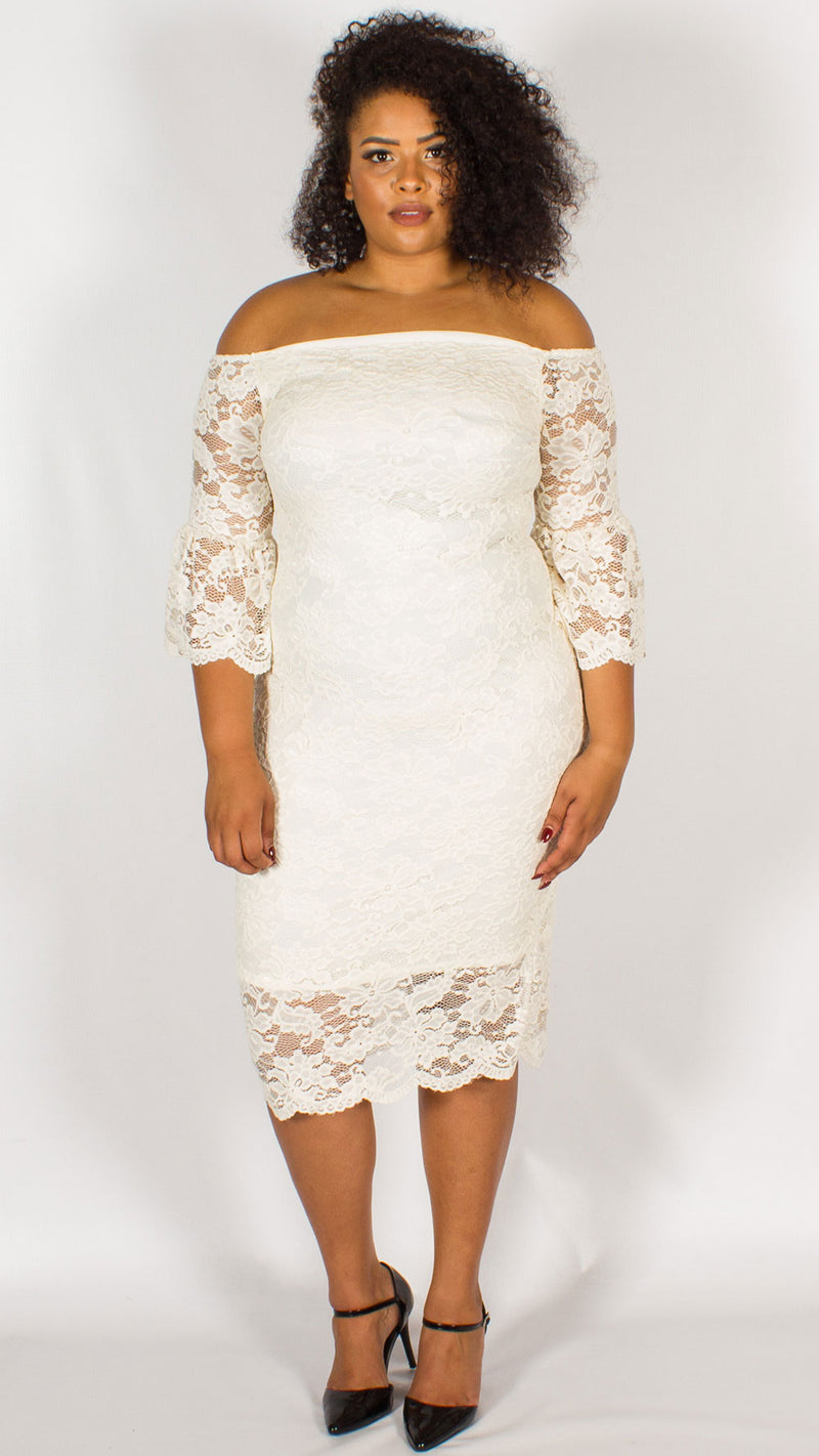 Perth Off The Shoulder Lace Midi Dress Ivory