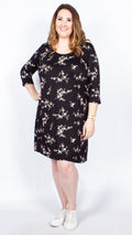 CurveWow Black Floral Shift Dress