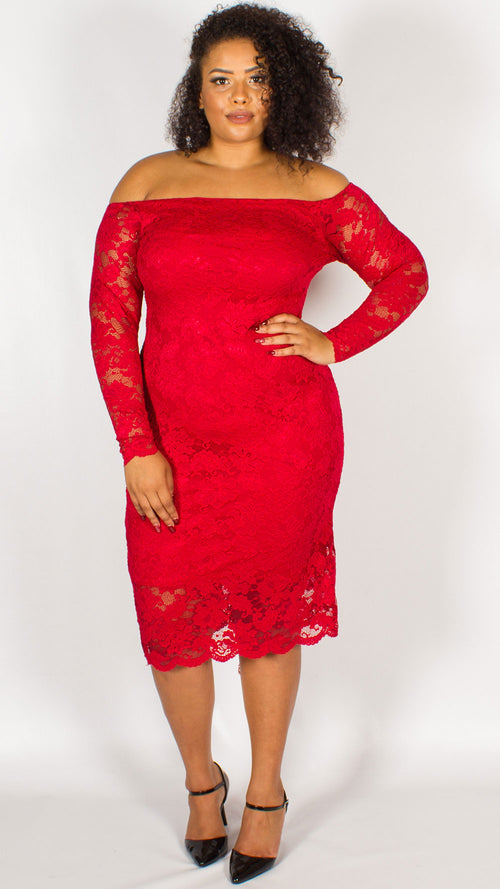 Orlando Off The Shoulder Lace Midi Dress Red