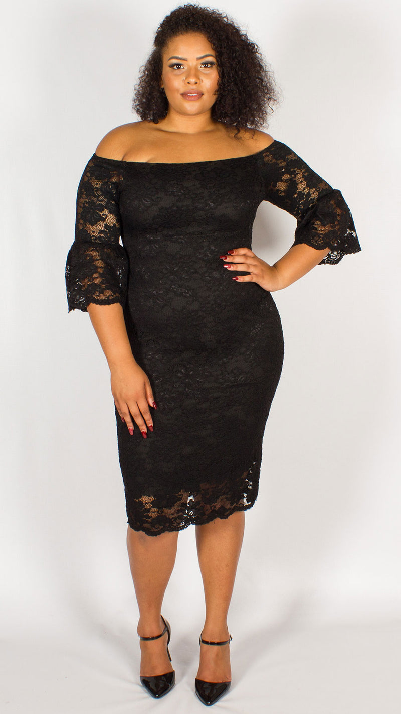 Perth Off the Shoulder Lace Midi Dress Black