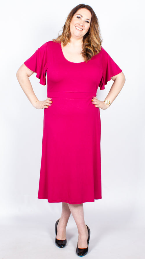 CurveWow Pink Short Sleeve Midi Dress