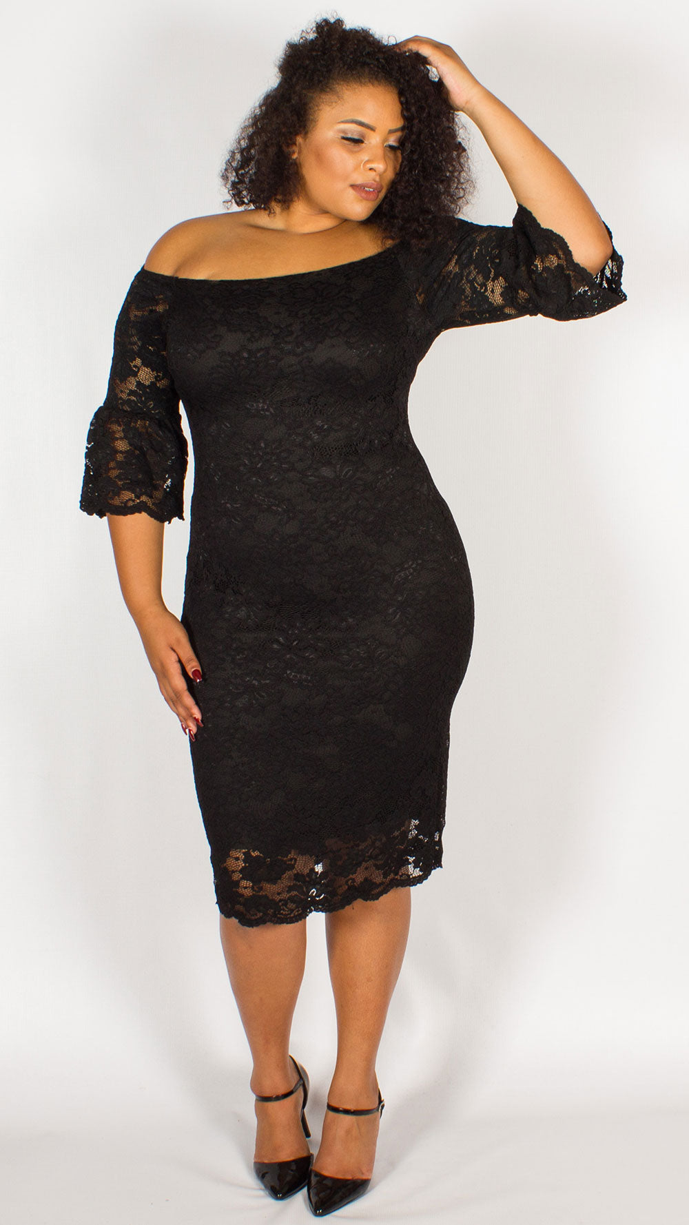 Perth Off The Shoulder Lace Midi Dress Black Curvewow