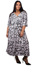 CurveWow Khaki & White Printed Wrap Maxi Dress