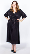 CurveWow Black Wrap Maxi Dress