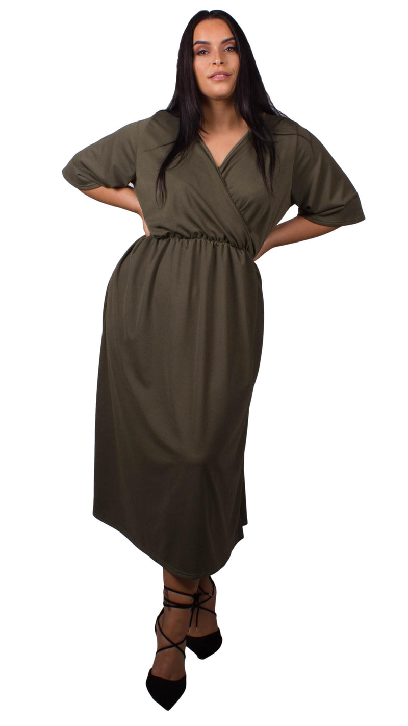 CurveWow Khaki Wrap Maxi Dress