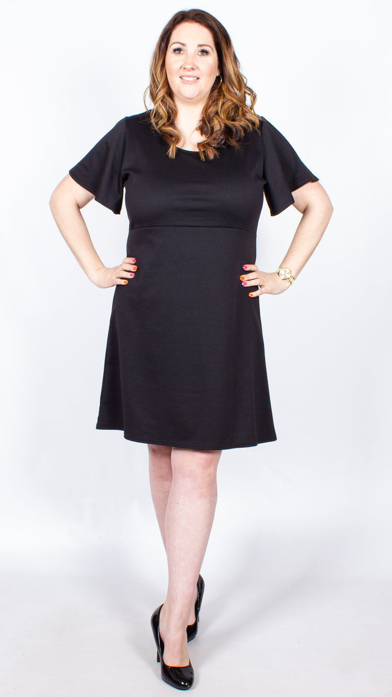 CurveWow Black Frill Sleeve Dress