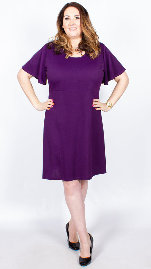 CurveWow Purple Frill Sleeve Dress