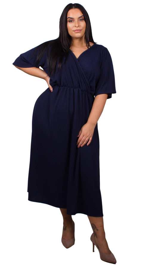 CurveWow Navy Wrap Maxi Dress