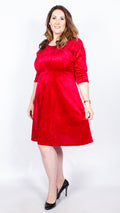 CurveWow Red Velour Skater Dress