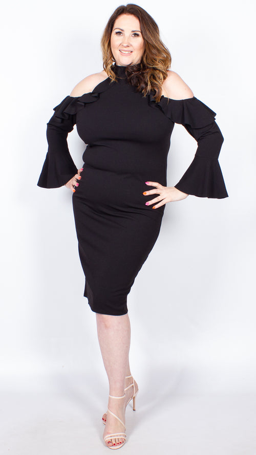 Bern Cold Shoulder Black Midi Ruffle Dress