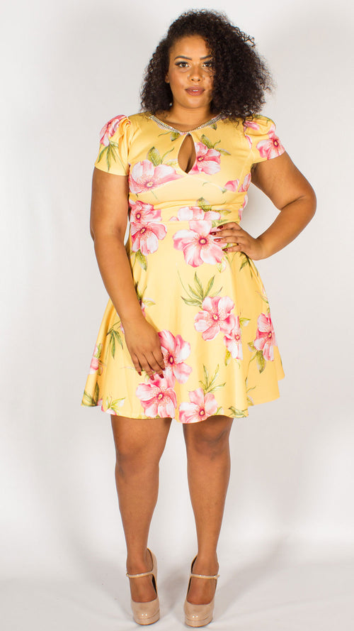 Cannes Diamante Yellow Floral Print Skater Dress