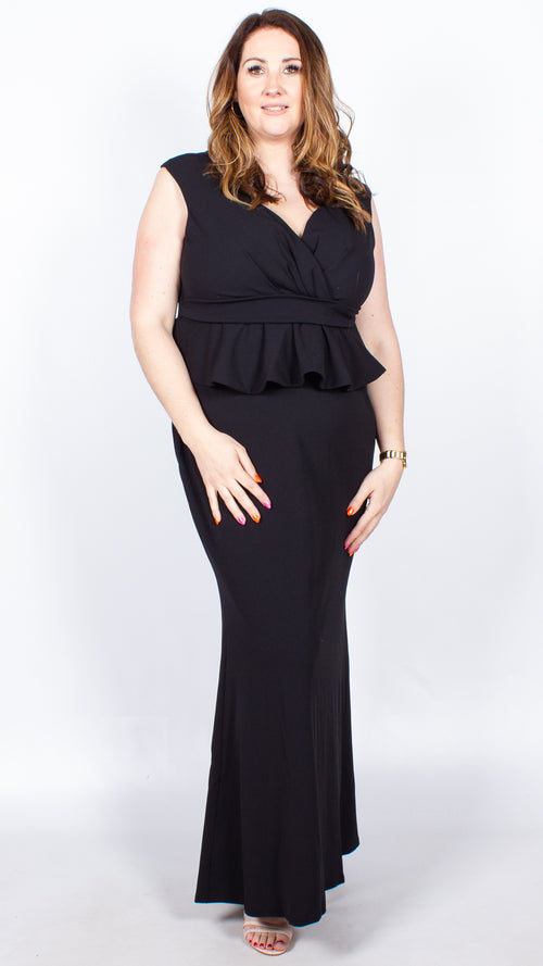 Asra Cross Over Black Peplum Maxi Dress