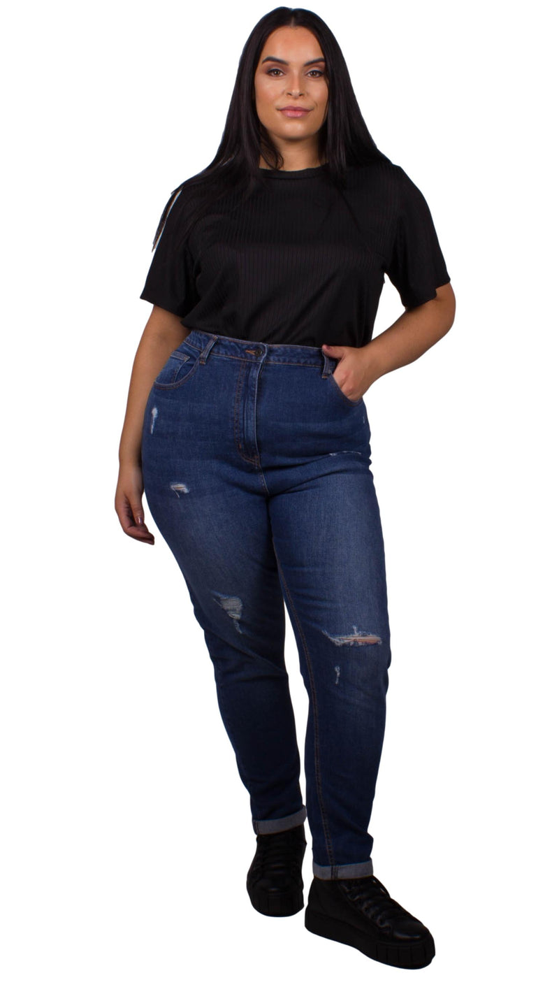 CurveWow Mom Jeans - Mid Wash